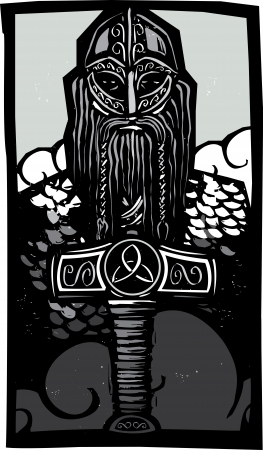 Woodcut style image of the Norse God Thor with his hammer against the sky  Illustration