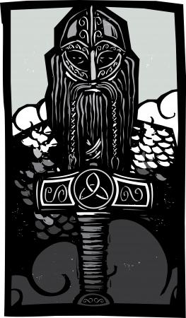 Xilografia stile immagine del dio norreno Thor con il suo martello contro il cielo