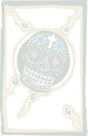 rape: Woodcut style image of a Mexican day of the dead skull as a human egg to be fertilized  Illustration