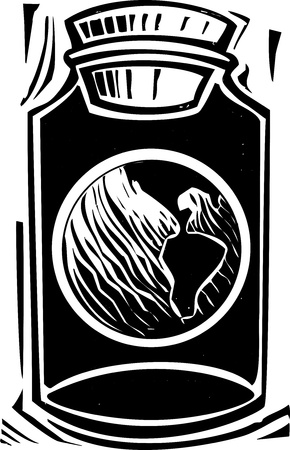 Woodcut style image of the planet earth in a jar  Illusztráció