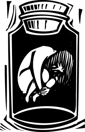 Woodcut style expressionist image of a human body in a jar  Ilustracja