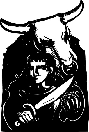Woodcut style expressionist image of the Greek myth of Theseus and the Minotaur Ilustrace
