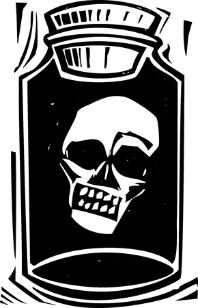 kept: Woodcut style image of the head of a zombie being kept in a bottle