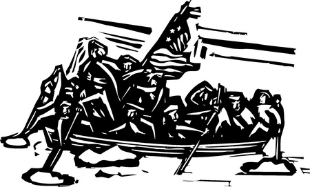 the crossing: Woodcut style representation of George Washington crossing the Delaware river.