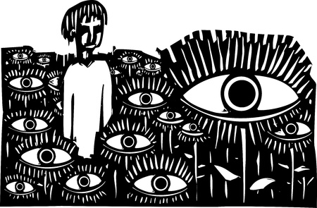 expressionist: Woodcut style expressionist image of a boy standing in a field of watching eyes. Illustration