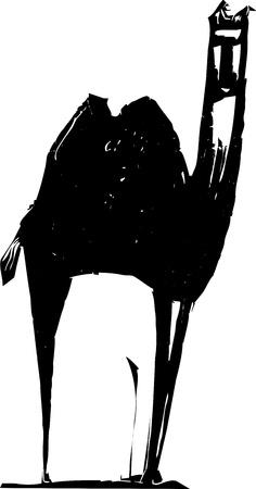Eenvoudige harde expressionistische beeld van een Midden-Oosterse kameel.