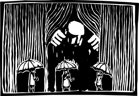 giant man: Woodcut style image of a giant man pulling back a curtain of rain over three people with umbrellas.