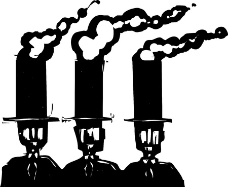 expressionist: Woodcut style expressionist image of three business men in top hats that are smoke stacks.