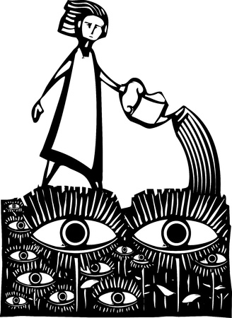 voyeur: Woodcut style image of a girl watering a garden of watching eyes. Illustration