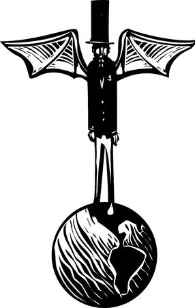 govern: Woodcut style Victorian dressed demon with wings and a top hat standing on the earth. Illustration