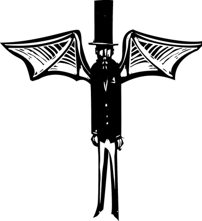 Woodcut style Victorian dressed demon with wings and a top hat. Ilustração