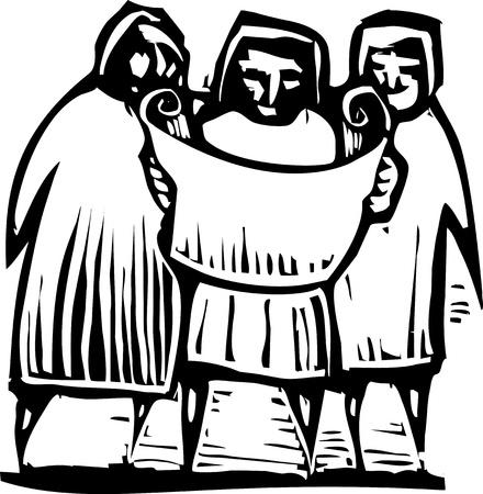 Woodcut 스타일 표현주의 이미지 세 사람의지도 또는 문서를 찾고.