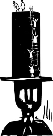 banker: Woodcut style image of people climbing to the top of a bankers top hat  Illustration