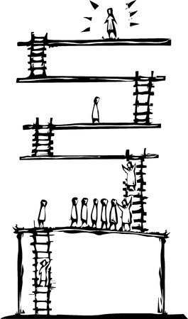 Woodcut style image of people ascending levels to get to the top  Ilustração