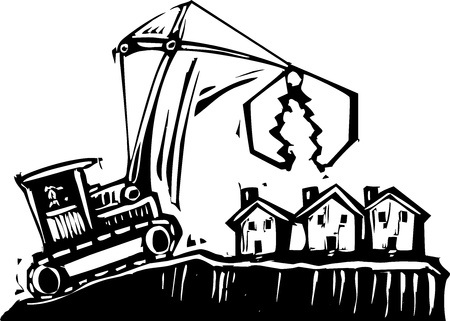 Woodcut style image of a crane getting ready to demolish small houses  Ilustração