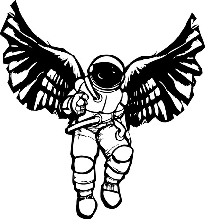 Woodcut style image of an astronaut