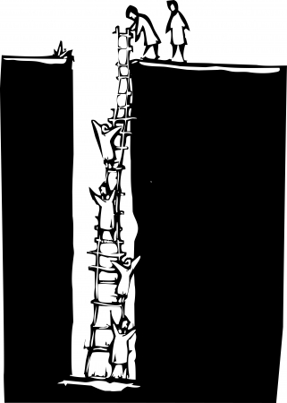 Woodcut style image of people climbing out of a deep hole using a ladder