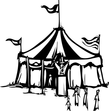 entertainment tent: Woodcut expressionist style image of a carnival circus tent