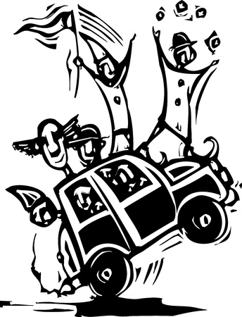 congress: Woodcut style image of clowns in a tiny car  Illustration