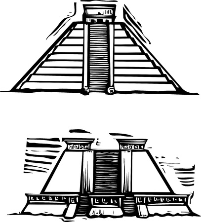 Woodcut style image of the Mayan Pyramids at El Tajin and Chichen Itza in Mexico