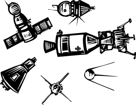 Woodcut style set of historical Soviet Russian and American NASA Spaceships