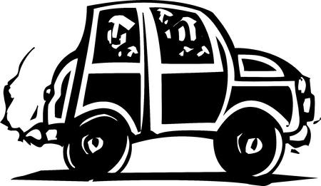 Woodcut style small car with people inside  Ilustração