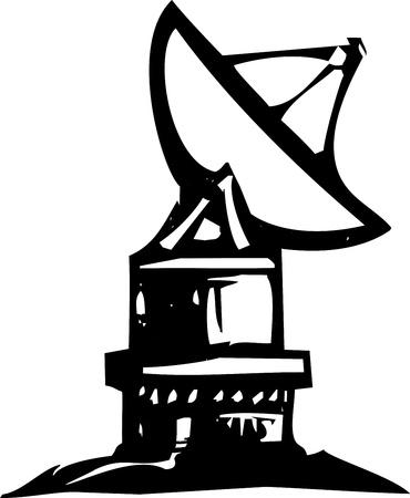 Houtsnede stijl expressionistische radio schotel telescoop wijzend op dat hemel Stock Illustratie