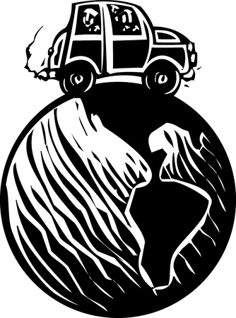 Woodcut style small car with people traveling around the earth