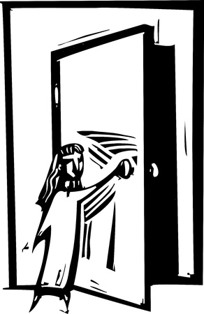 Woodcut style expressionist image of a girl opening a door.