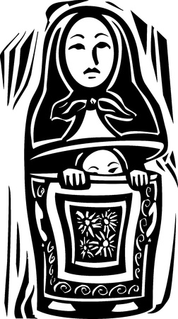 nested: woodcut style image of a a Russian nested doll with another doll inside trying to escape or hide.