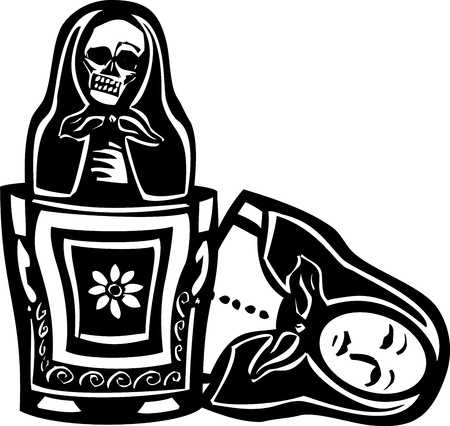 nested: woodcut style image of a Russian nested doll with a skeleton doll inside. Illustration