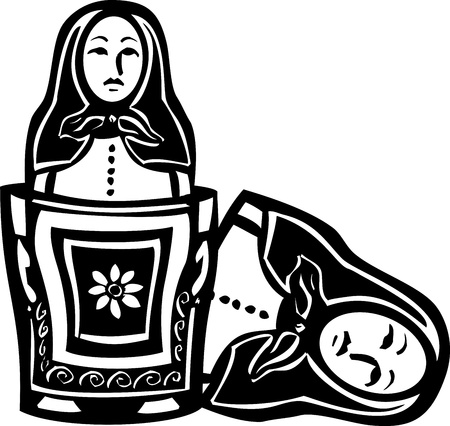 nested: woodcut style image of a Russian nested doll with another doll inside. Illustration