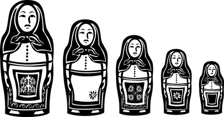 nested: woodcut style image of a series of Russian nested dolls. Illustration