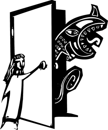 Woodcut style image of a girl opening her closet to find a monster. Vector