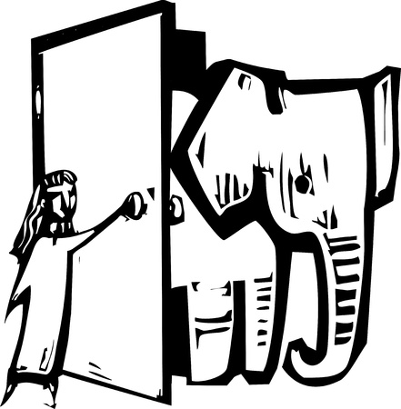 congress: Girl opening a door to let an elephant into her house.