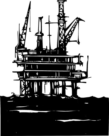 drilling rig: Woodcut Style image of a Deep sea offshore oil rig drilling on the ocean Illustration