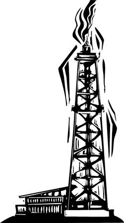 pozo petrolero: Imagen de estilo de grabado de la perforación de pozos petroleros para la exploración de petróleo Vectores