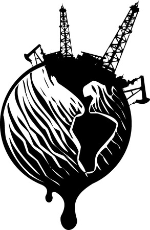 oil pipeline: Woodcut Style image of the earth covered in Oil wells and dripping.