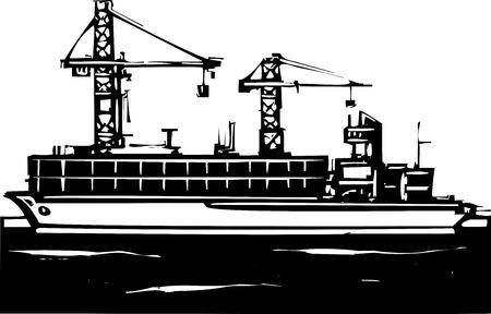 Houtsnede stijl beeld van een containerschip en kranen laden bij een dok.