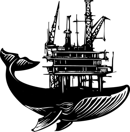 Woodcut style image of a whale with an Off Shore Oil Rig on its back. Illustration