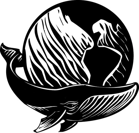 Woodcut style image of a whale and the Earth. Vector