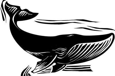 木版画スタイル ヒゲクジラは尾を弾くこと