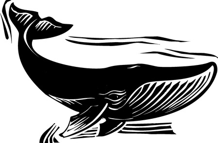 Woodcut style baleen whale flipping its tail Çizim