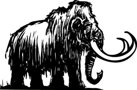 Woodcut style ancient wooly mammoth from the ice age. Ilustração