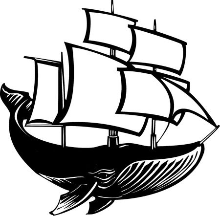 Woodcut style sail propelled baleen whale. Vector