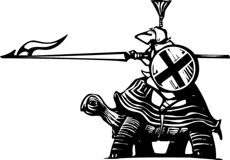 joust: Woodcut style Knight in armor riding a turtle. Illustration