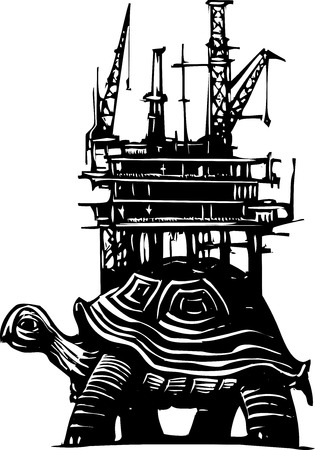 oil well: Woodcut style turtle carrying an oil drilling rig on its back.