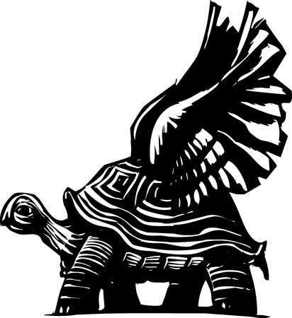 steady: Woodcut style turtle with spread wings getting ready to fly.