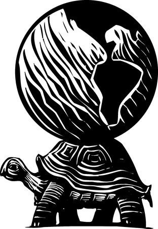 folktale: Imagen mito estilo de grabado de una tortuga que lleva el mundo sobre su espalda.