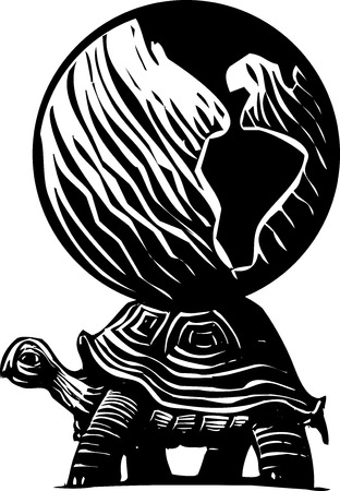 steady: Woodcut style myth image of a turtle carrying the world on its back.